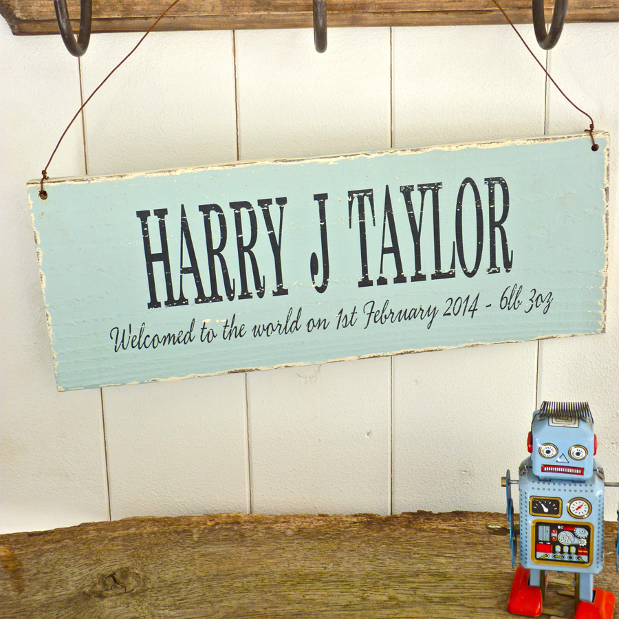 Personalised Vintage Style New Baby Sign