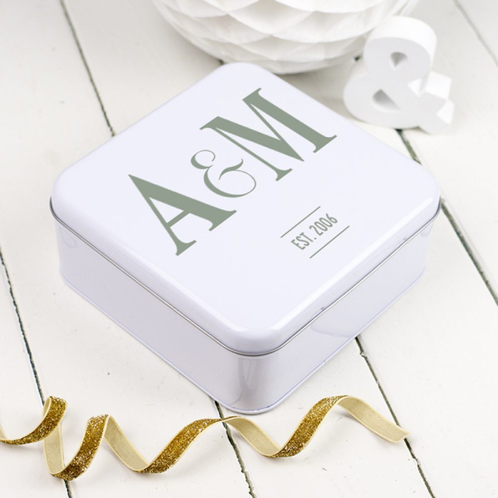 Initialled Wedding Keepsakes Tin Box - Delightful Living