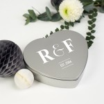 Initialled Silver Heart Keepsakes Tin Box