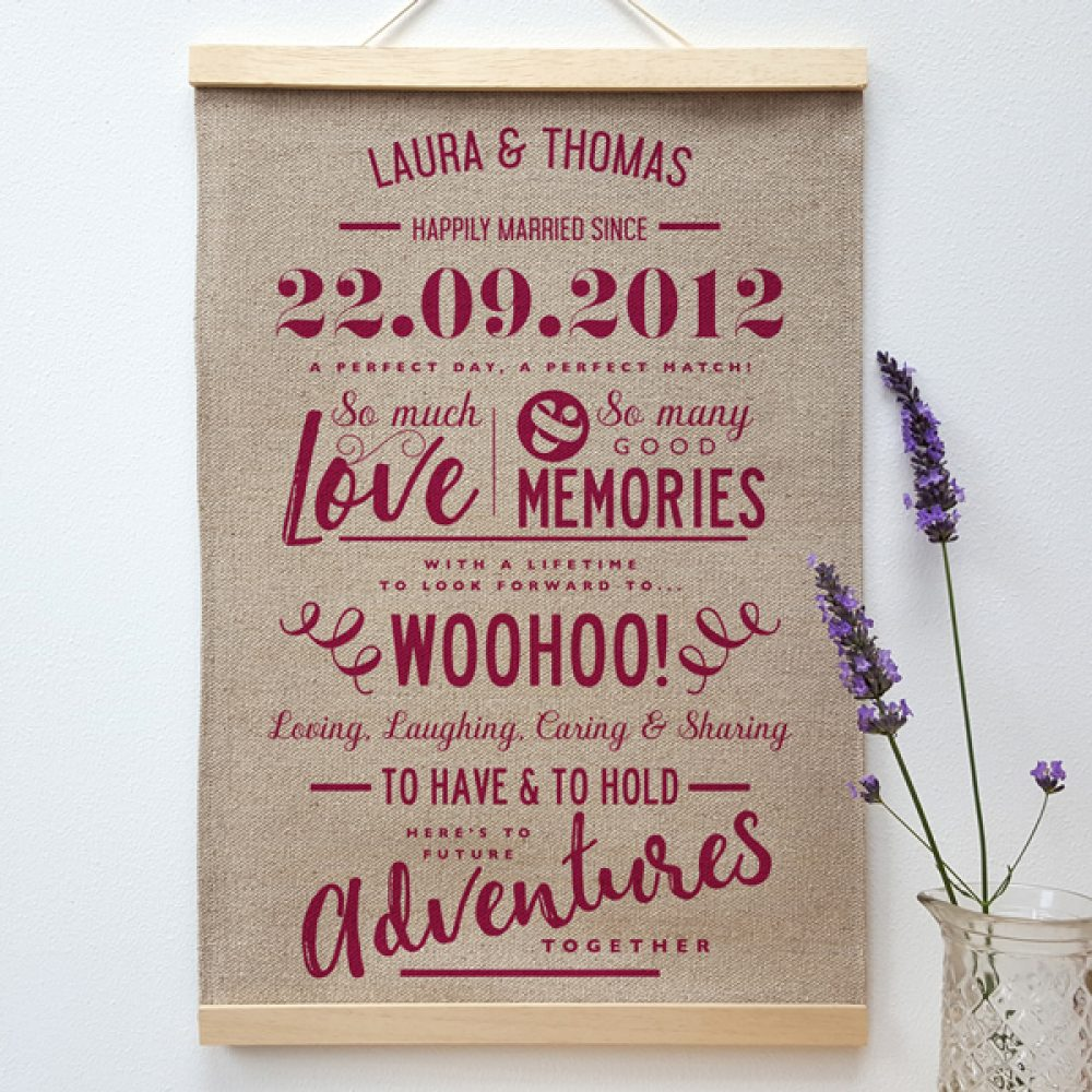 Personalised Linen Anniversary Print - Beetroot