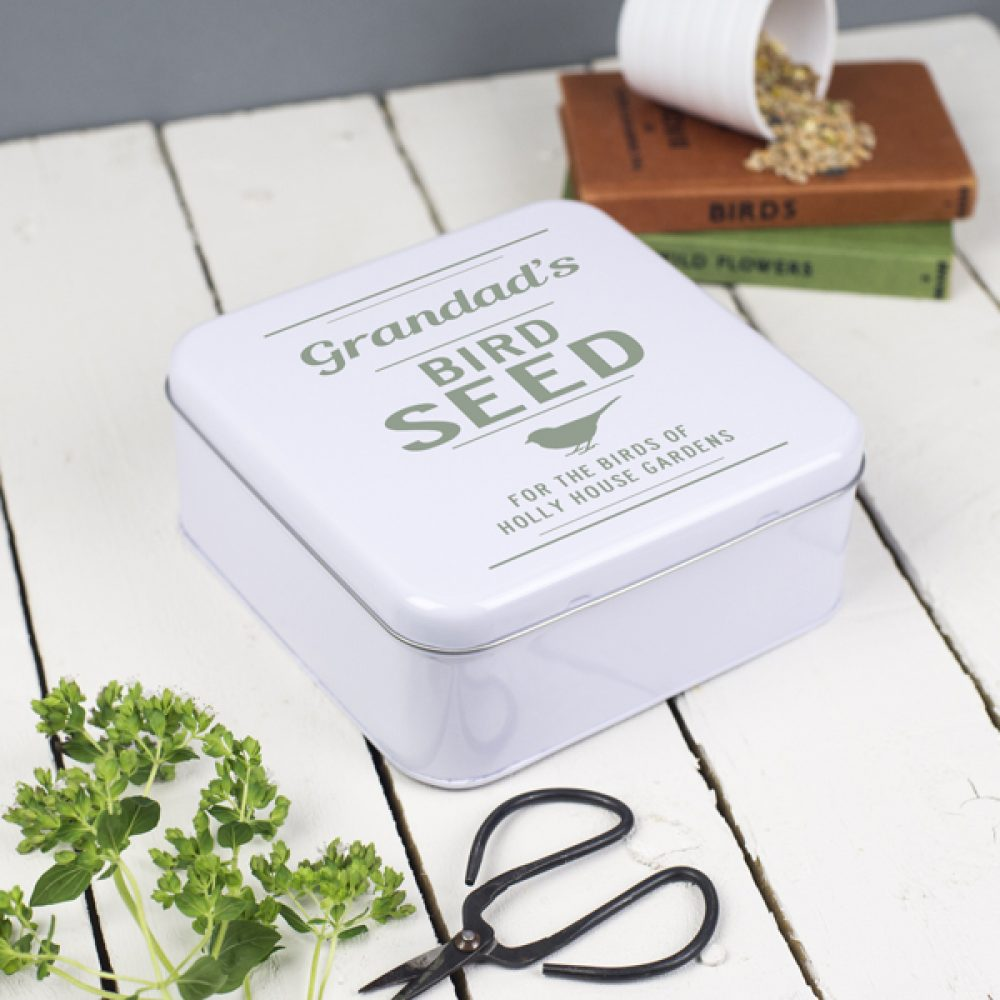 Personalised Garden Bird Seed Tin