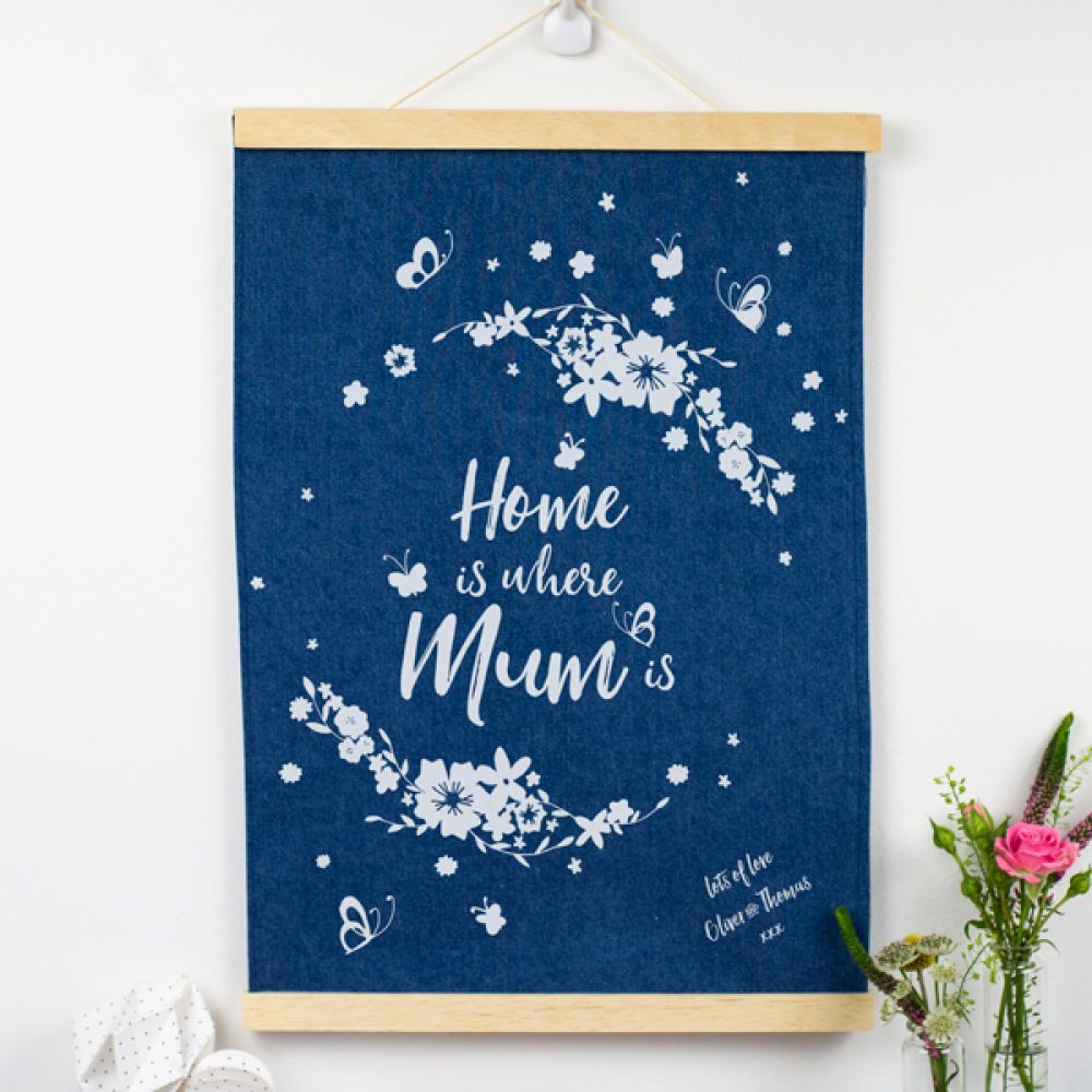 Personalised Home is where Mum is Denim Print