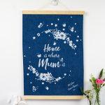 Personalised Home is where Mum is Denim Print