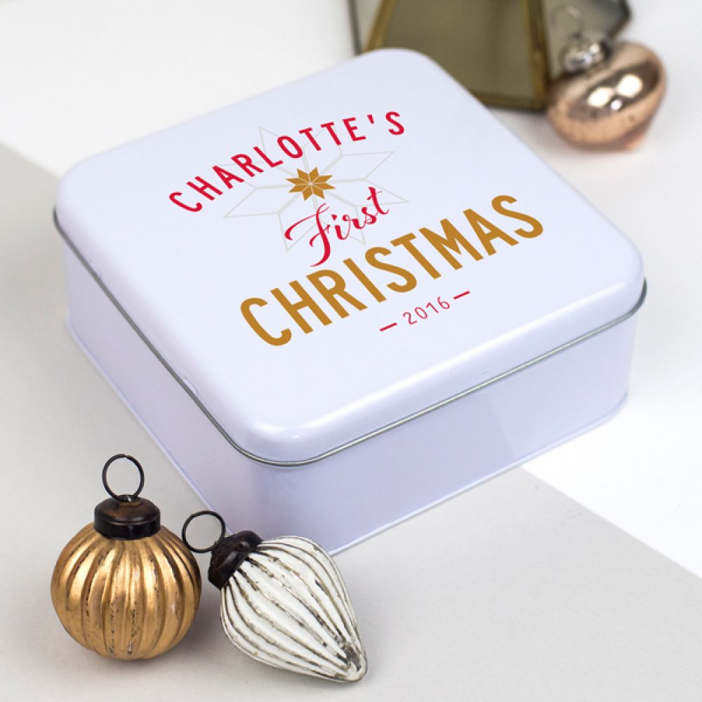 Personalised Baby's First Christmas Tin