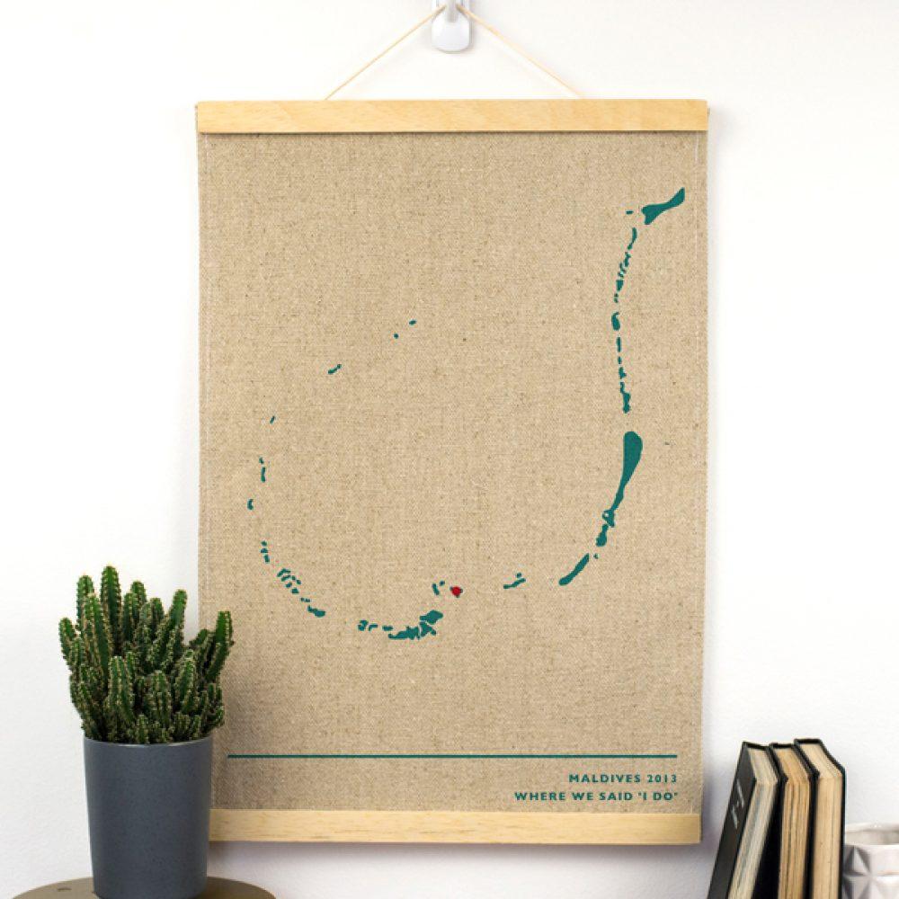 Linen Anniversary Map Print