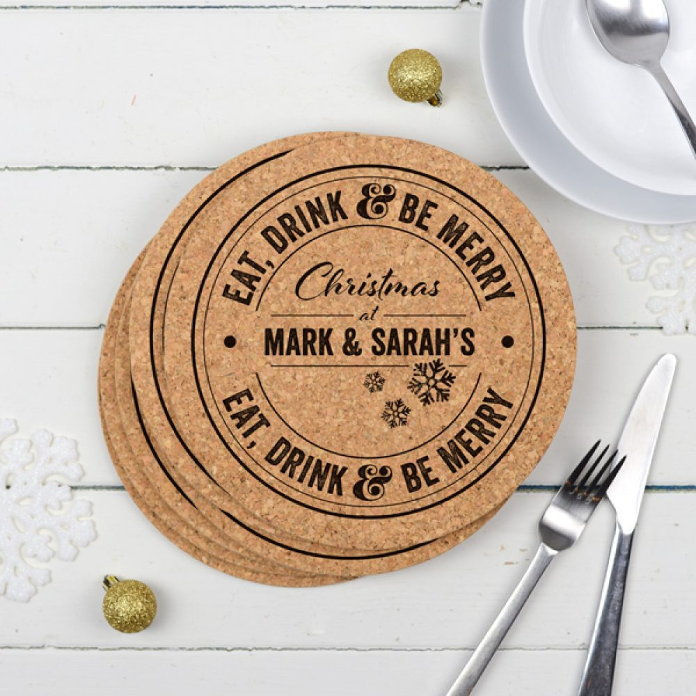personalised christmas cork placemats