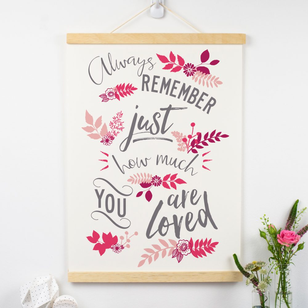 1st anniversary you are loved print in pink