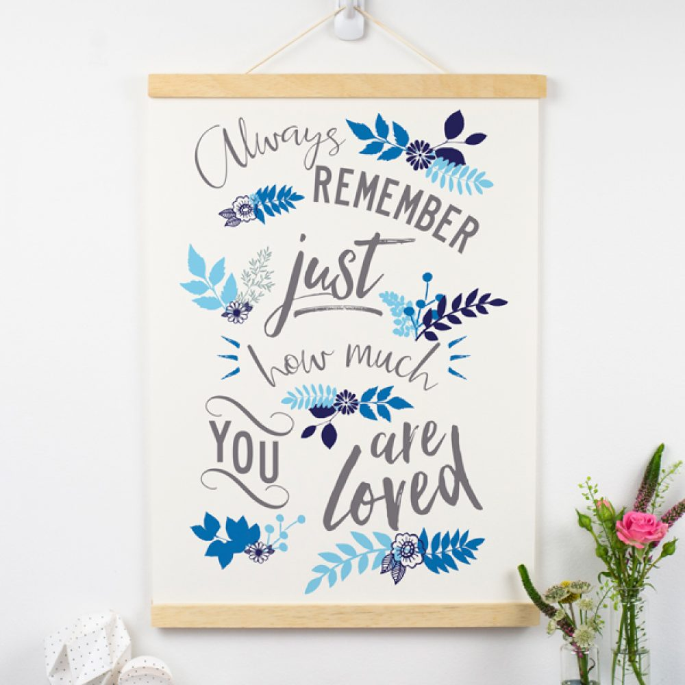 Loved Typographic Print On Paper blue