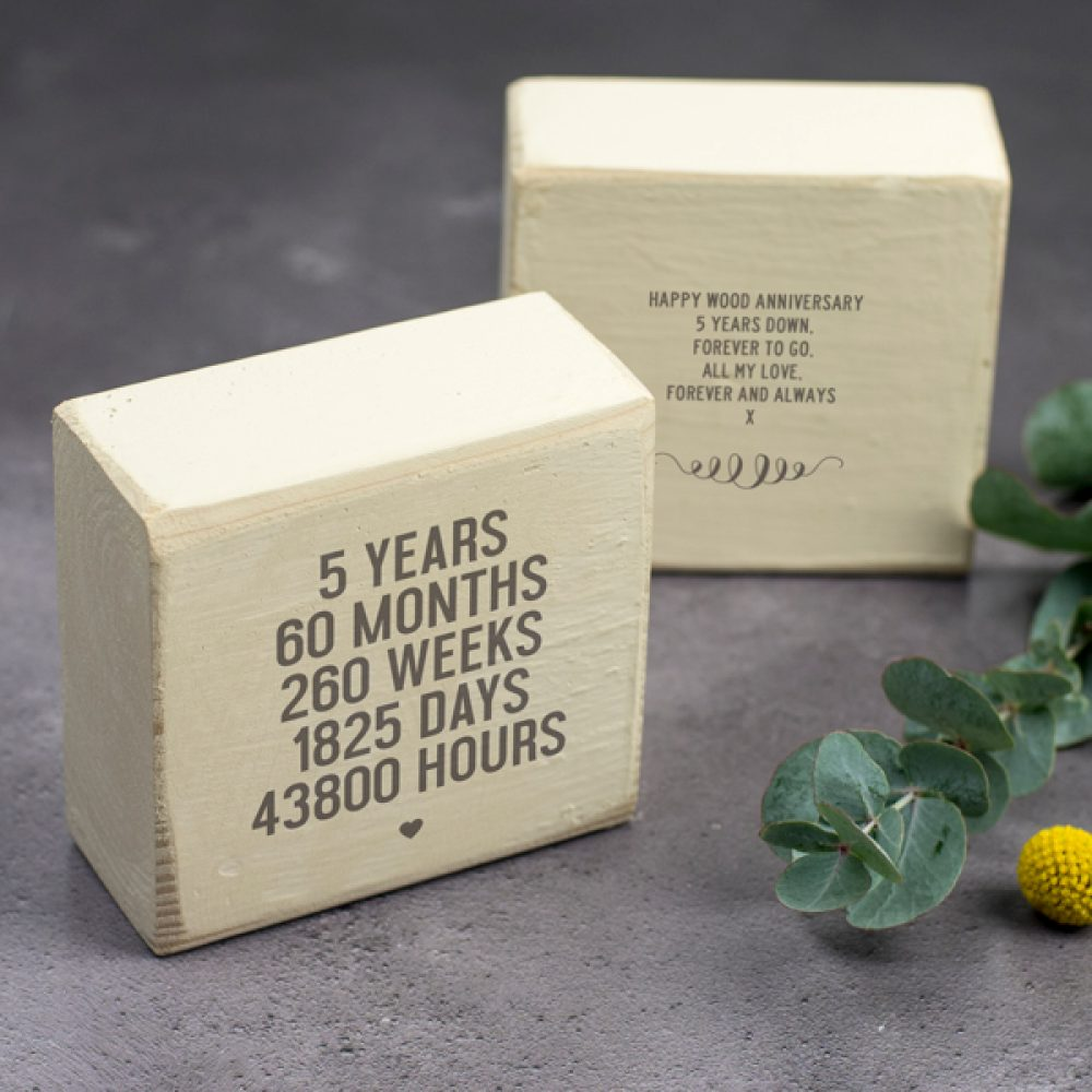 Personalised 5th Anniversary Wooden Keepsake Gift