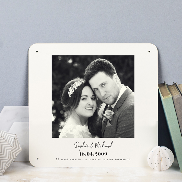 Personalised 10th Anniversary Photo Metal Print