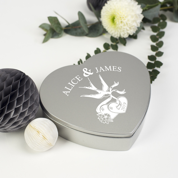 Personalised Valentines Heart Silver Tin