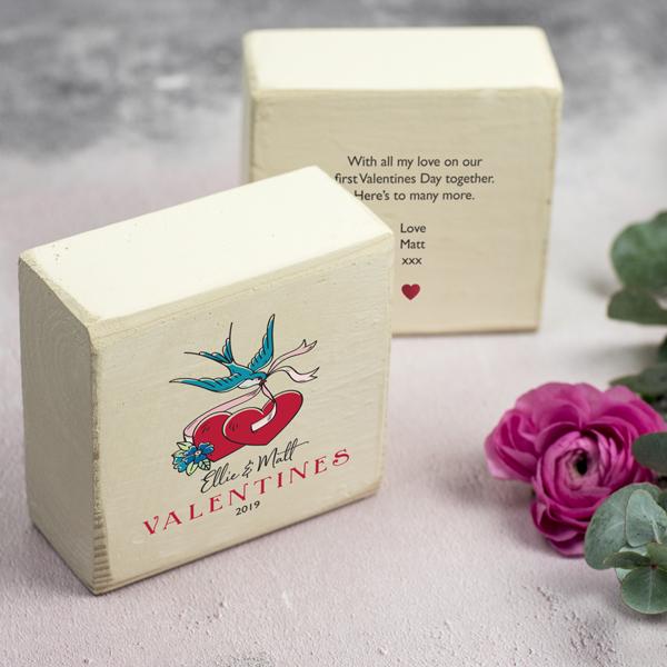 Personalised Valentines Keepsake Block