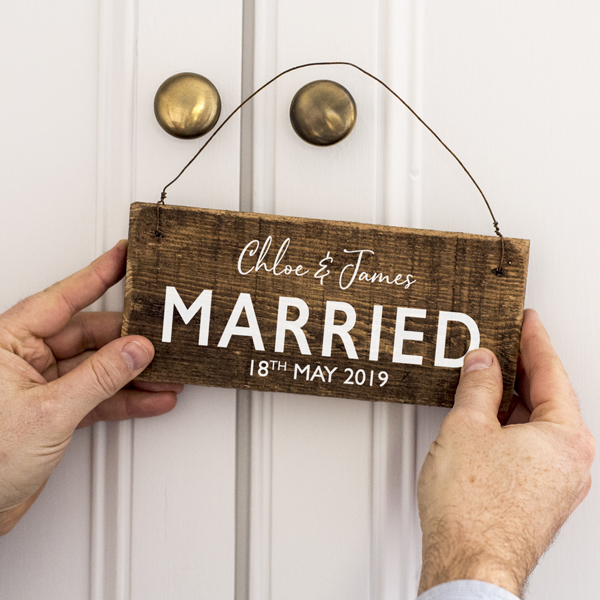 Personalised Wooden Married Sign