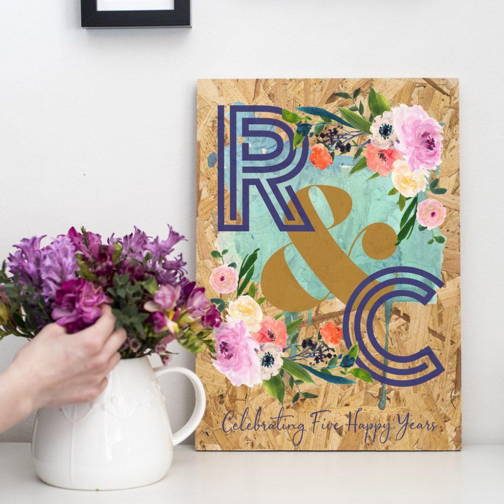 Personalised Wood Anniversary Floral Initials Print