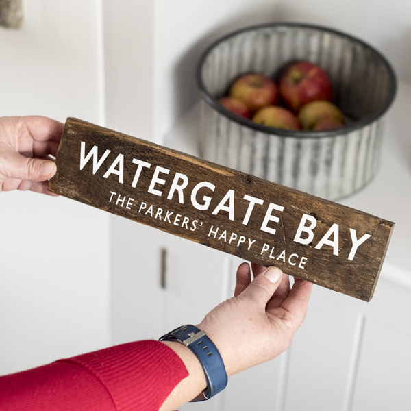 Personalised Our Happy Place Wooden Sign