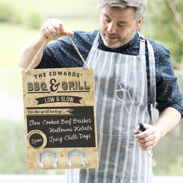 Personalised BBQ Chalkboard with hooks
