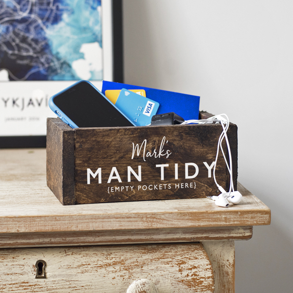 Personalised Man Tidy Wooden Box