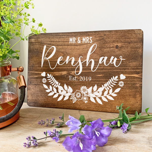 Personalised Family Name Wooden Sign
