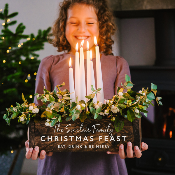 Personalised Christmas Table Centrepiece Wooden Box