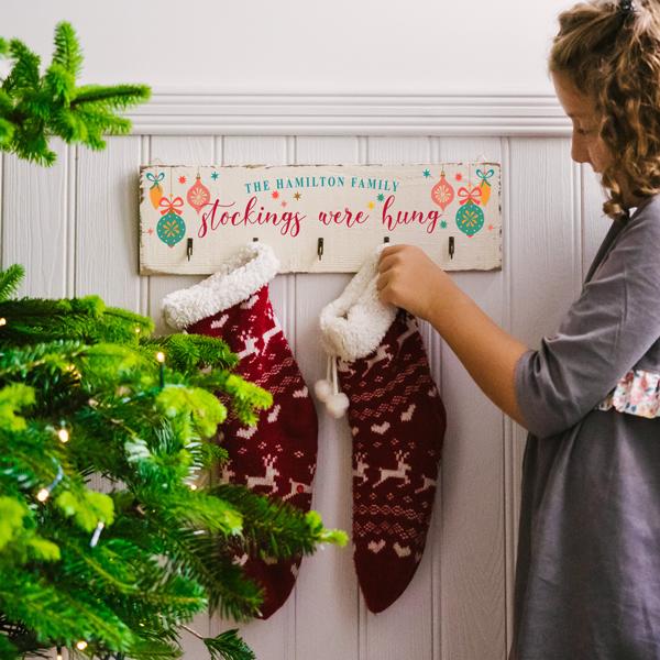 Personalised Retro Baubles Christmas Stocking Hooks