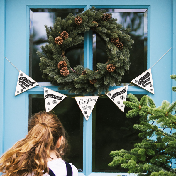 Personalised Classic Christmas Wooden Bunting
