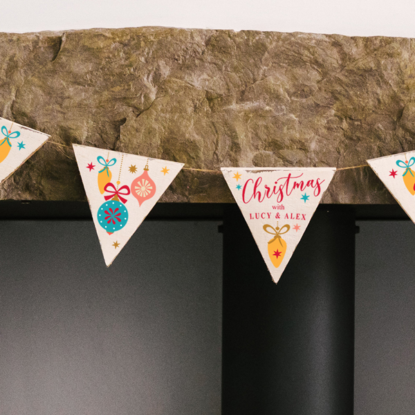 Personalised Retro Baubles Christmas Wooden Bunting