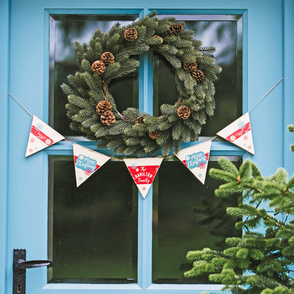 Personalised Vintage Style Christmas Wooden Bunting