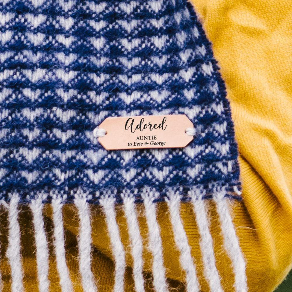 Personalised 100% pure new wool blanket scarf