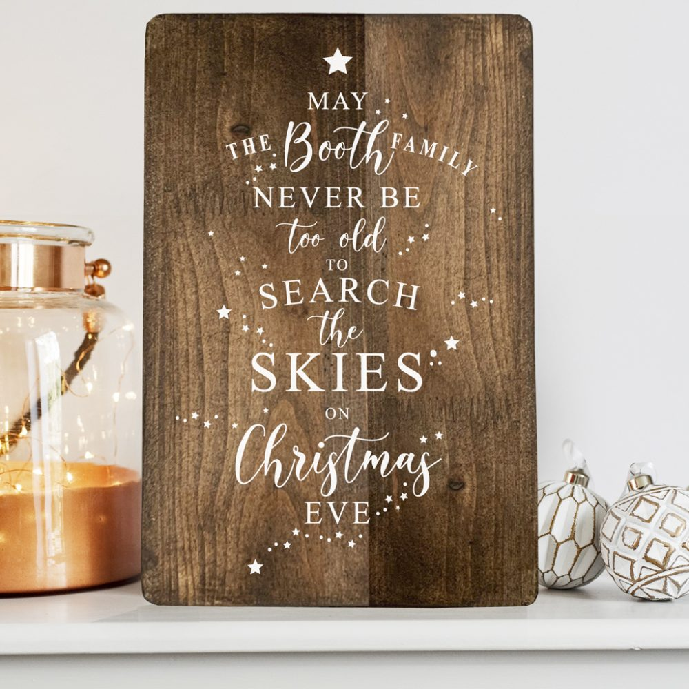 Personalised Family Christmas Eve Wooden Print